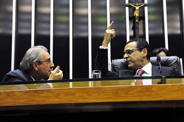 Cunha (esq) e o presidente da Câmara, Henrique Eduardo Alves (PMDB-RN) (Foto: Divulgação/Câmara dos Deputados)