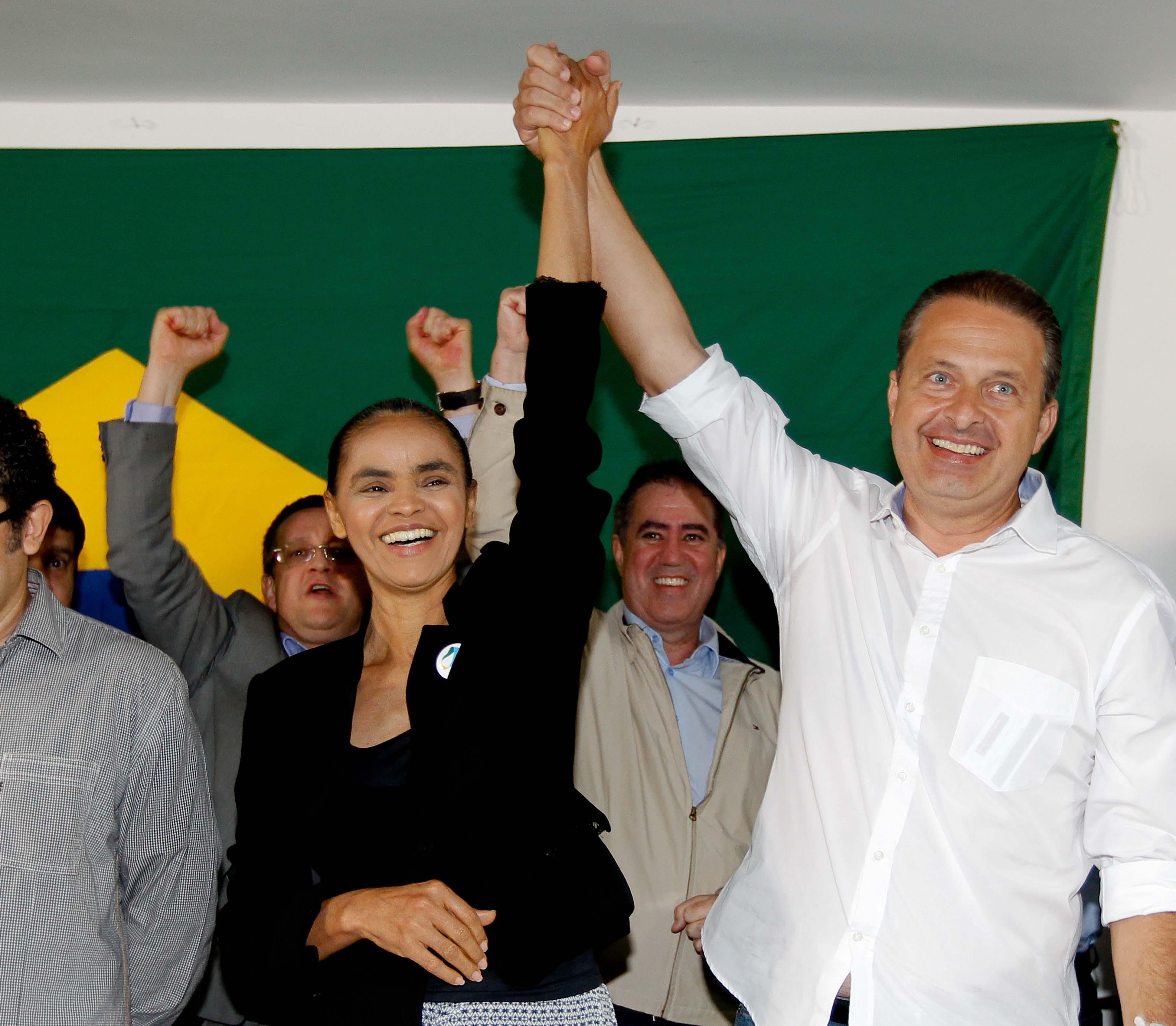 Marina e Campos estarão juntos neste sábado no Rio, mas não farão anúncio de chapa (Foto Alan Marques/Folhapress)
