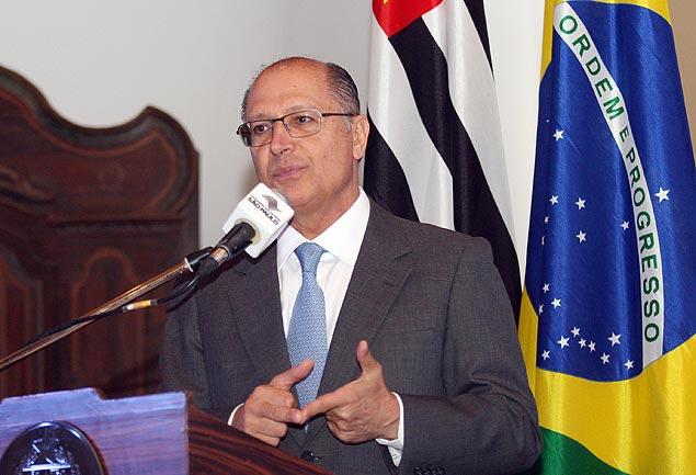 Geraldo Alckmin discursa em cerimônia no Palácio dos Bandeirantes, em fevereiro (Luiz Carlos Murauskas/Folhapress)