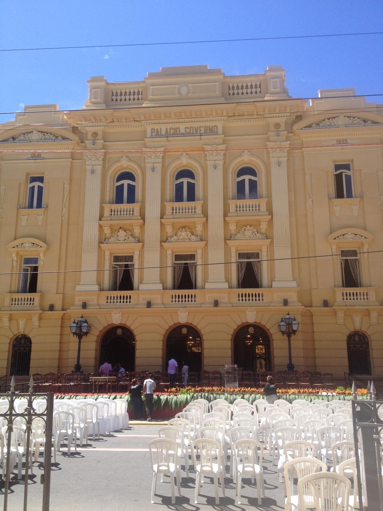 Palco no Palácio das Princesas em que Eduardo fará discurso de despedida (Foto Vera Magalhães/Folhapress)
