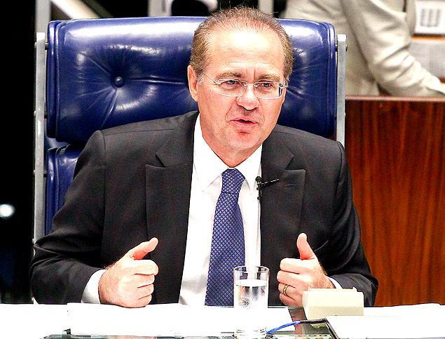 O presidente do Senado, Renan Calheiros (PMDB-AL), no plenário, em 2013 (Foto Pedro Ladeira/Folhapress)