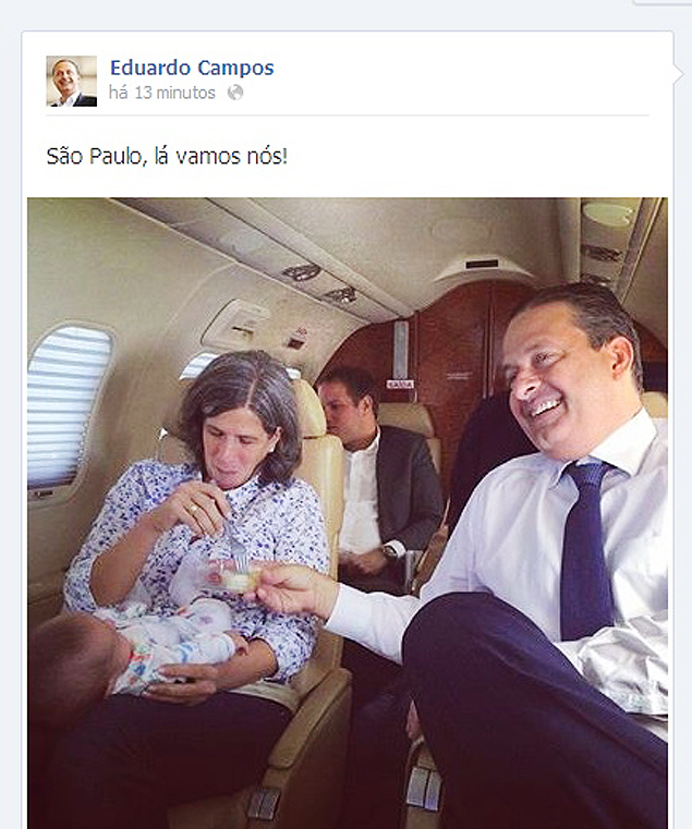 A polêmica foto do jatinho, postada no Facebook e depois apagada (Foto: Reprodução)